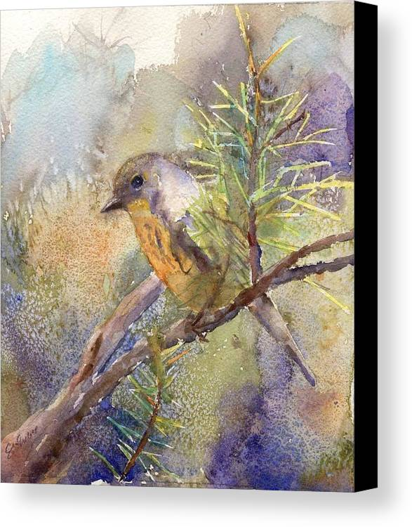 Nature Canvas Print featuring the painting Bluebird by Elizabeth Evans