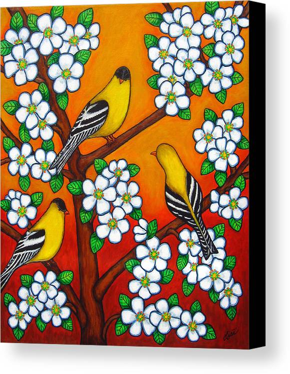 Goldfinch Canvas Print featuring the painting Chardonnay Sunset by Lisa Lorenz