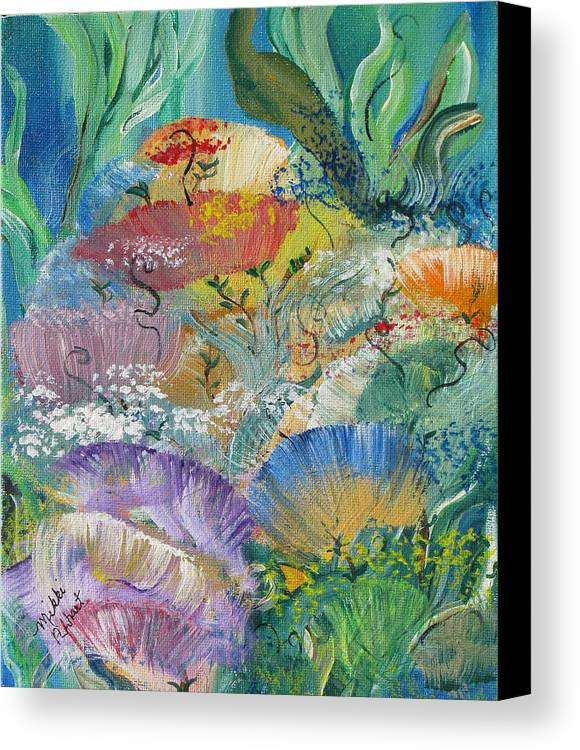 Coral Canvas Print featuring the painting Coral Fantasy by Mikki Alhart