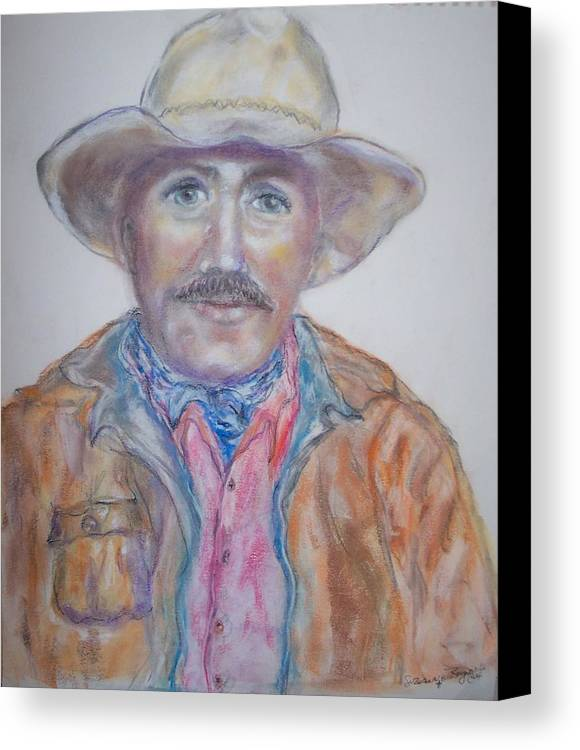 Portrait Of A Cowboy Canvas Print featuring the drawing Cowboy Jim by Suzanne Reynolds