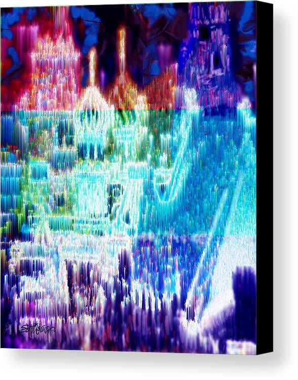 Northern Lights Canvas Print featuring the digital art Crystal City by Seth Weaver