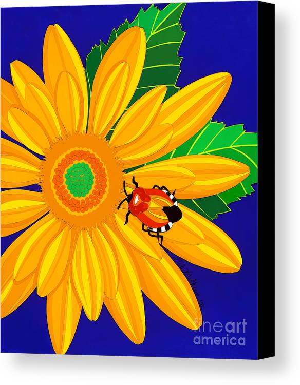 Nature Canvas Print featuring the drawing Daisy And Shieldbug by Lucyna A M Green