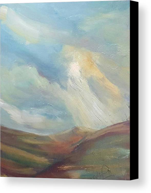 Landscape Canvas Print featuring the painting Distant Light by Niki Purcell