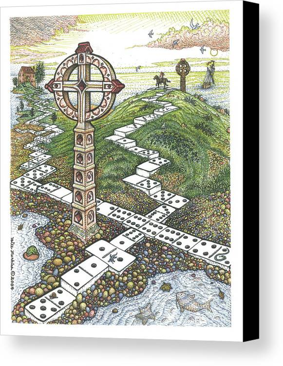Landscape Canvas Print featuring the drawing Domino Crosses by Bill Perkins