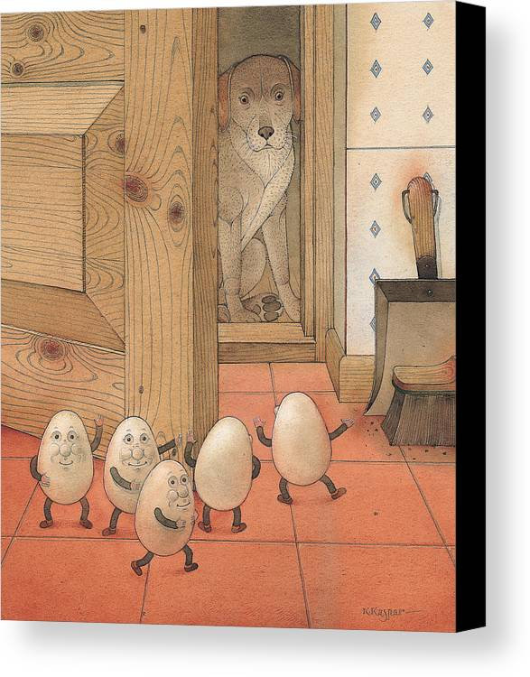 Kitchen Red Brown Dog Eggs Canvas Print featuring the painting Eggs And Dog by Kestutis Kasparavicius