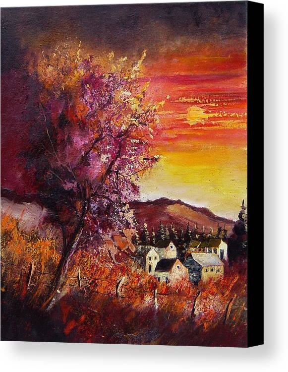 Autumn Canvas Print featuring the painting Fall In Villers by Pol Ledent