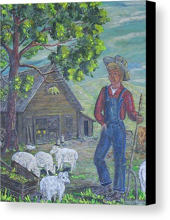 Barn Canvas Print featuring the painting Farm Work II by Phyllis Mae Richardson Fisher