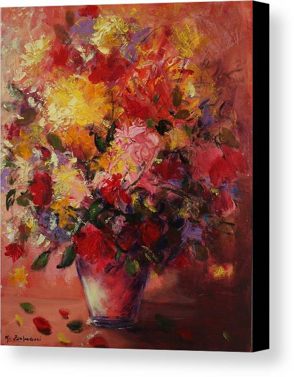 Flower Canvas Print featuring the painting Flower Pot by Mario Zampedroni