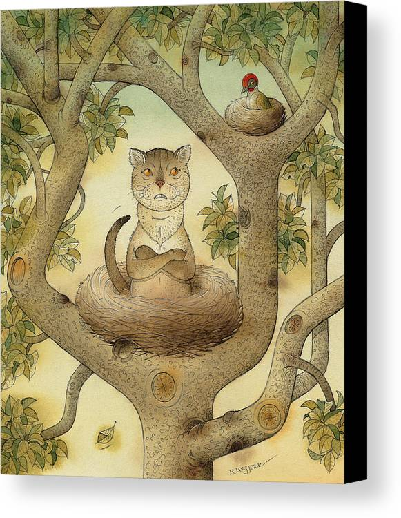 Tree Nest Cat Bird Landscape Sky Canvas Print featuring the painting Flying Cat by Kestutis Kasparavicius