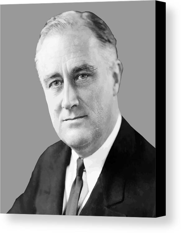 Franklin Roosevelt Canvas Print featuring the painting Franklin Delano Roosevelt by War Is Hell Store