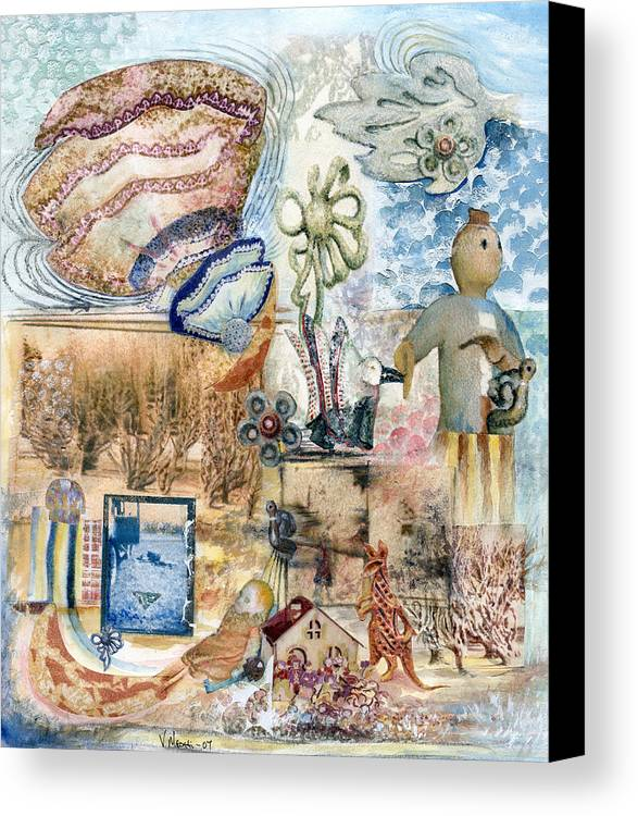 Fantasy Digital Art Canvas Print featuring the painting Going Down by Valerie Meotti