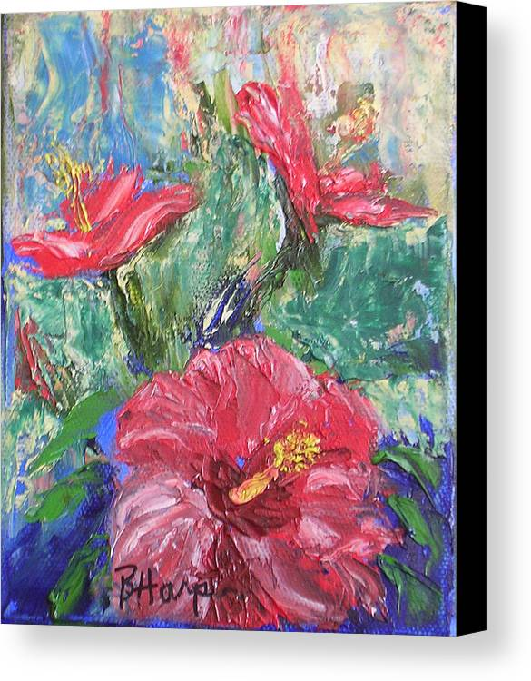 Hibiscus Canvas Print featuring the painting Hibiscus Abstract by Barbara Harper