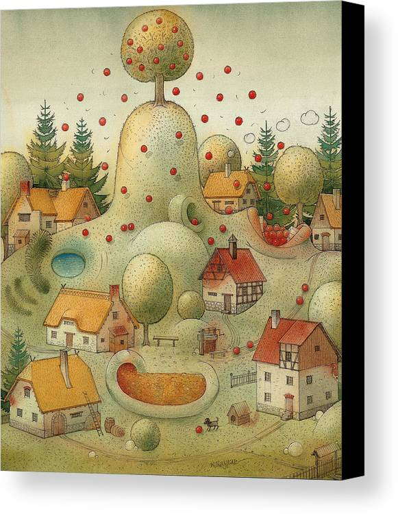 Hill Landscape House Home Apple Giant Autumn Canvas Print featuring the painting Hill by Kestutis Kasparavicius