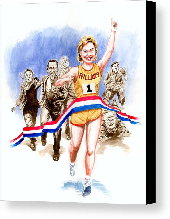 Hillary Clinton Canvas Print featuring the painting Hillary And The Race by Ken Meyer jr
