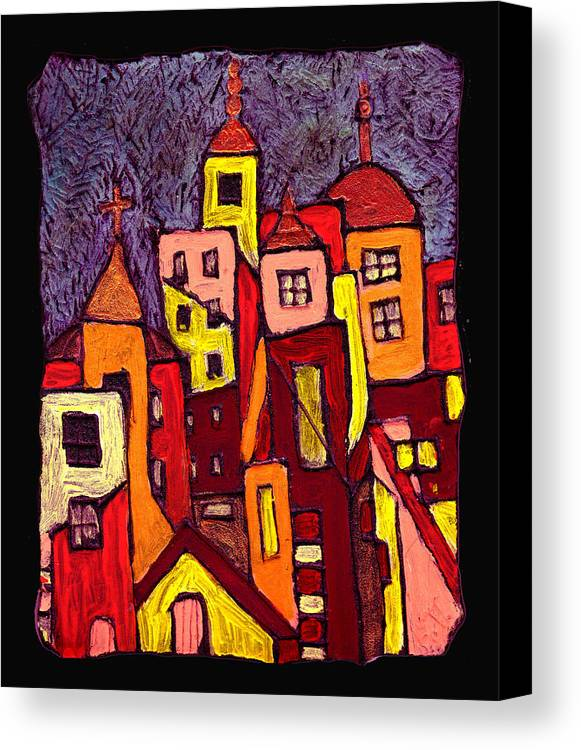 City Scapes Canvas Print featuring the painting Hot Night In The City by Wayne Potrafka