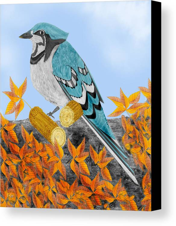 Jay Bird Canvas Print featuring the painting Jay With Corn And Leaves by Anne Norskog