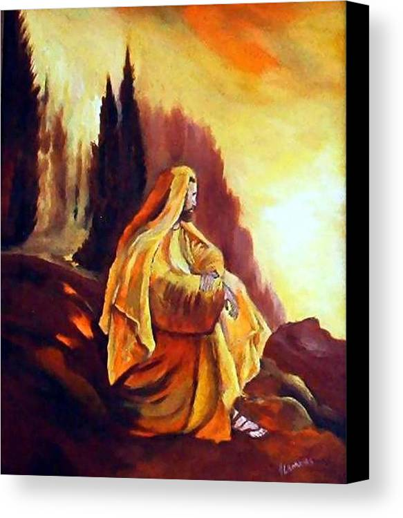 Figurative Canvas Print featuring the painting Jesus On The Mountain by Julie Lamons