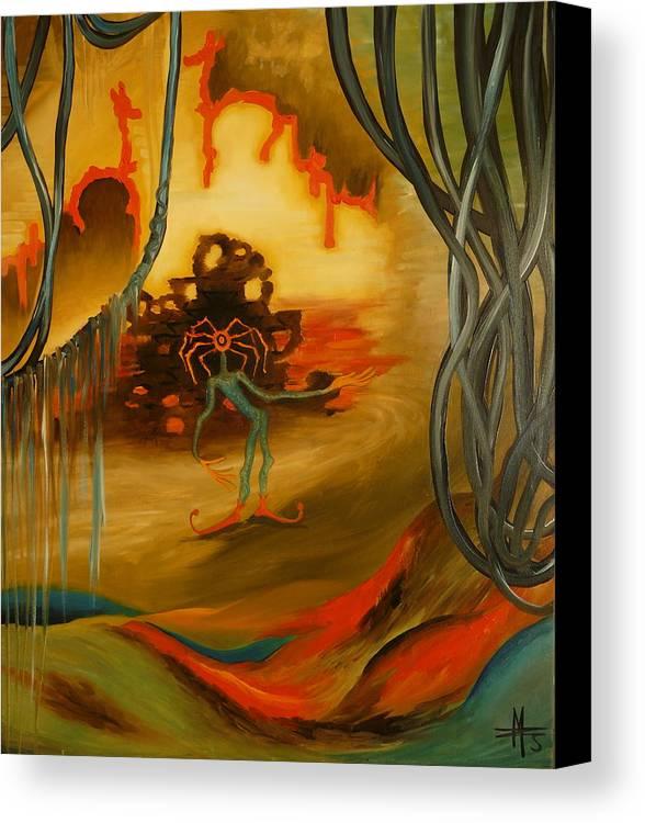 Surrealist Canvas Print featuring the painting Joker by Zsuzsa Sedah Mathe