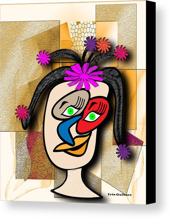 Comic Canvas Print featuring the digital art Lady With Flowers In Her Hair by Iris Gelbart