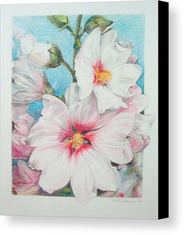 Flower Canvas Print featuring the painting Lavater by Muriel Dolemieux