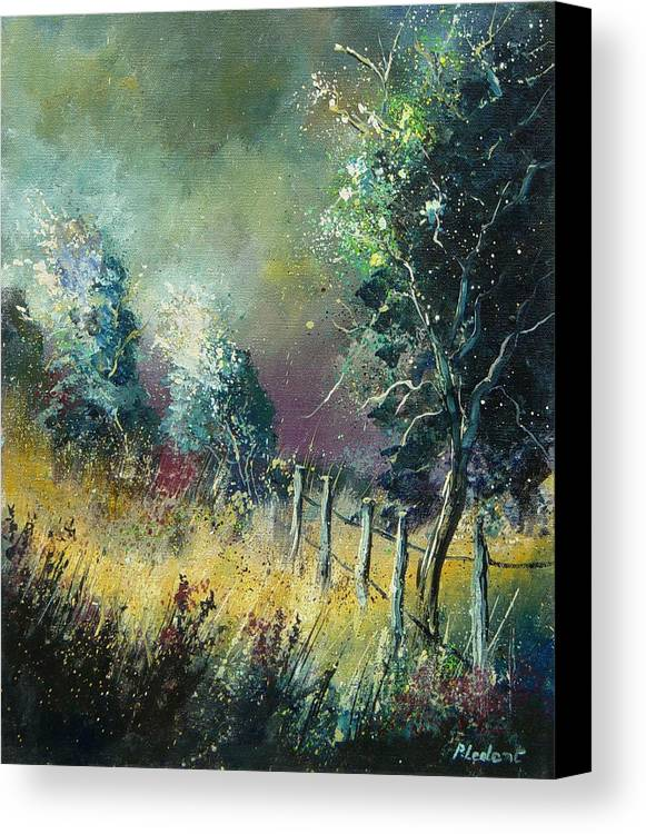 Landscape Canvas Print featuring the painting Light On Trees by Pol Ledent