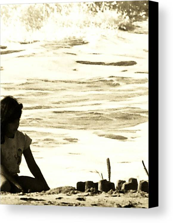 Sea Scapes Canvas Print featuring the digital art Making Sand Casltles by Donna Thomas