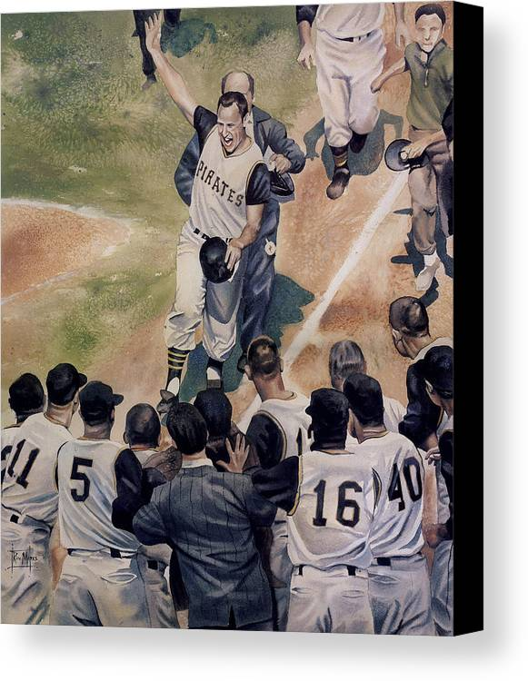 Baseball Canvas Print featuring the painting Maz by Rich Marks