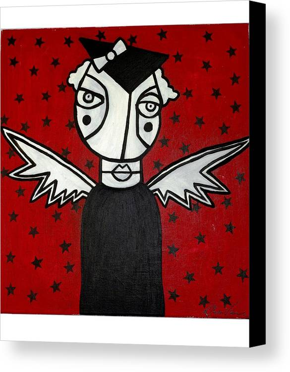 Potrait Canvas Print featuring the painting Mrs.creepy by Thomas Valentine
