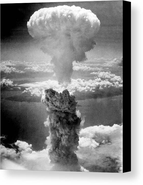 Atomic Bomb Canvas Print featuring the photograph Mushroom Cloud Over Nagasaki by War Is Hell Store