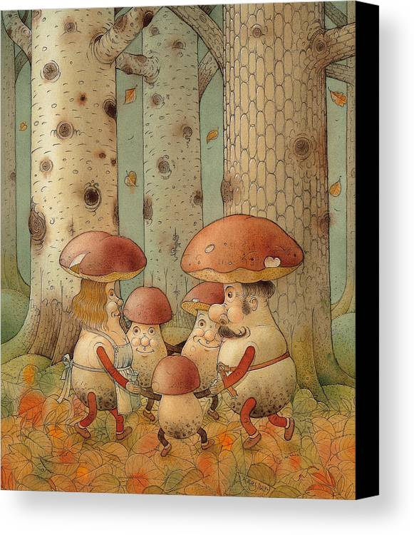 Mushrooms Landscape Forest Autumn Canvas Print featuring the painting Mushrooms by Kestutis Kasparavicius