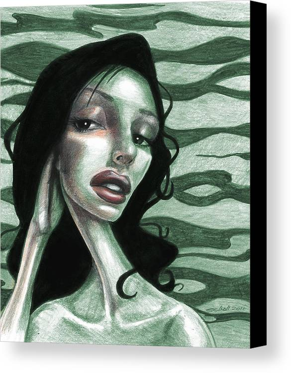 Woman Canvas Print featuring the drawing Not Thinking About You by Michael Scholl