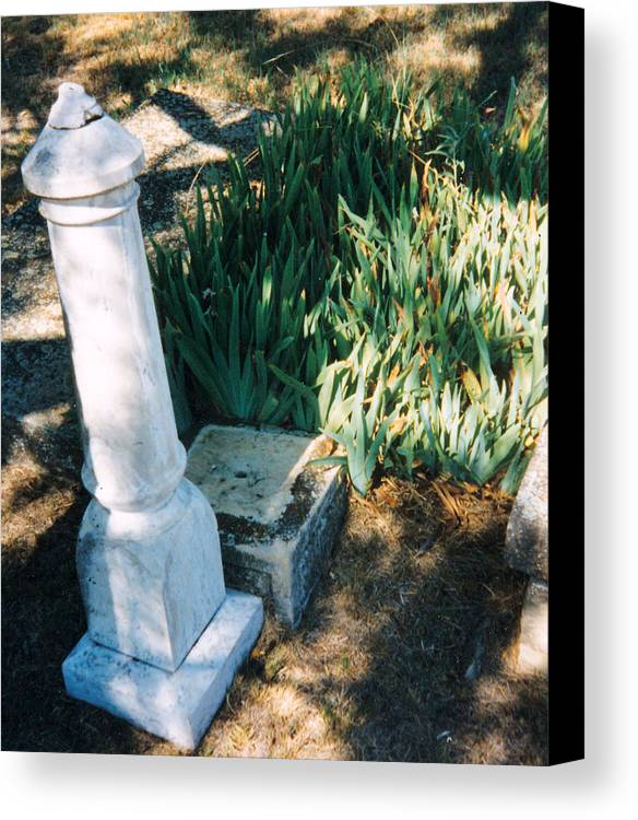 Stone Grave Iris Headstone Cementery Canvas Print featuring the photograph Old Grave Site by Cindy New