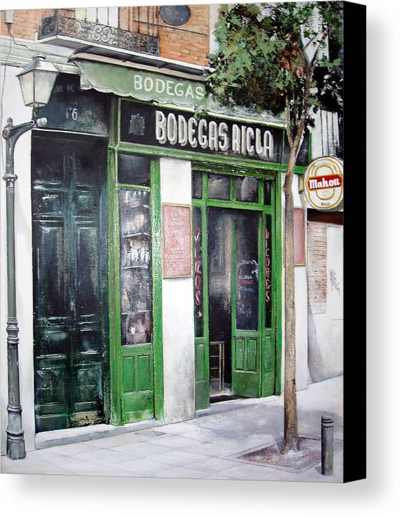 Bodegas Canvas Print featuring the painting Old Tavern-madrid by Tomas Castano