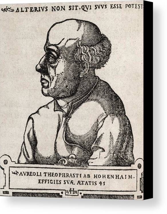 Paracelsus Canvas Print featuring the photograph Paracelsus, Swiss Alchemist by Middle Temple Library