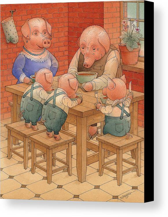 Animals Pig Kitchen Food Family Canvas Print featuring the painting Pigs by Kestutis Kasparavicius