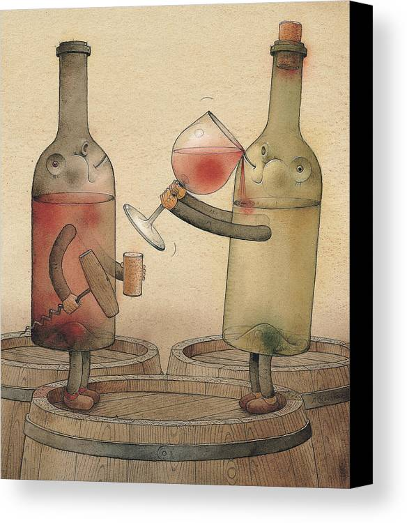 Wine Cellar Red White Canvas Print featuring the painting Pinot Noir And Chardonnay by Kestutis Kasparavicius