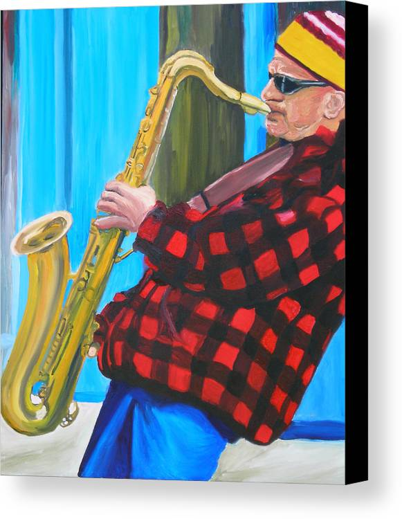 Sax Player Canvas Print featuring the painting Play It Mr Sax Man by Michael Lee