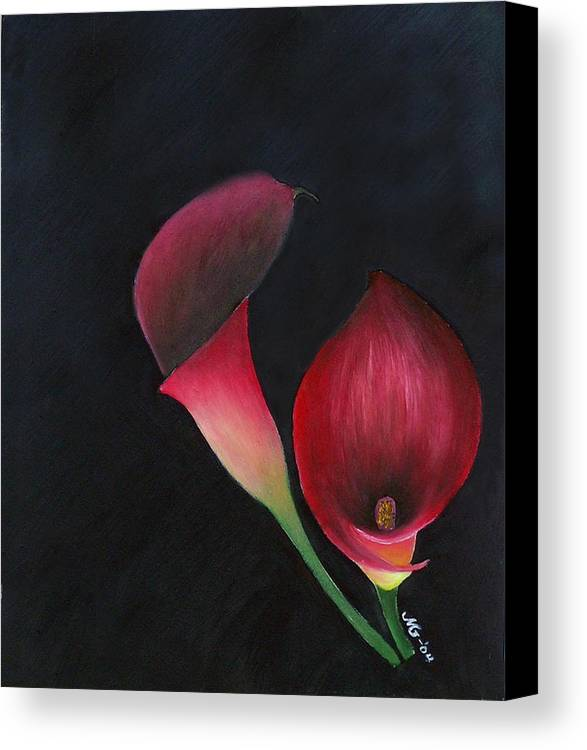Oil Canvas Print featuring the painting Red Calla Lillies by Mary Gaines