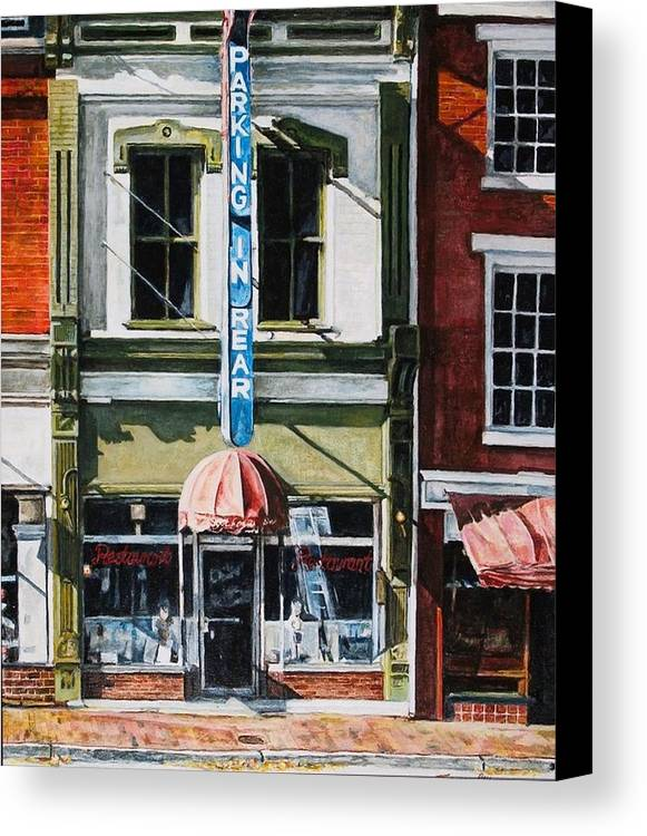 Street Scene Canvas Print featuring the painting Restaurant by Thomas Akers