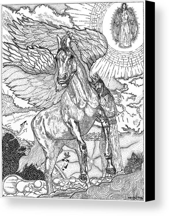 Horse Canvas Print featuring the drawing Revelation  Return Of The King by Glenn McCarthy Art and Photography