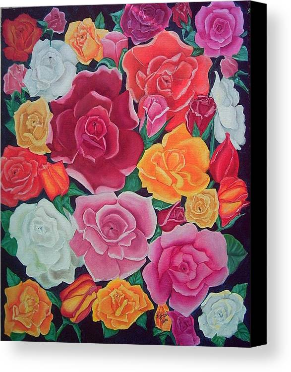 Rose Canvas Print featuring the painting Rose Reunion by Kathern Welsh