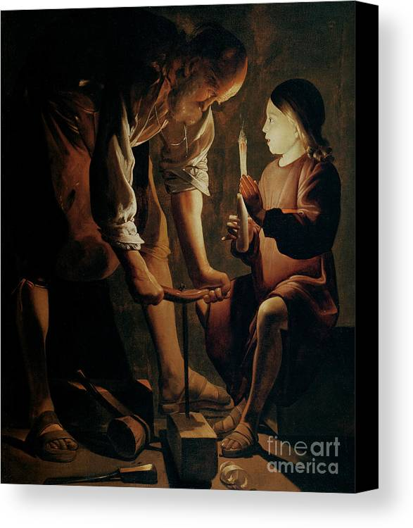 Georges De La Tour Canvas Print featuring the painting Saint Joseph The Carpenter by Georges de la Tour