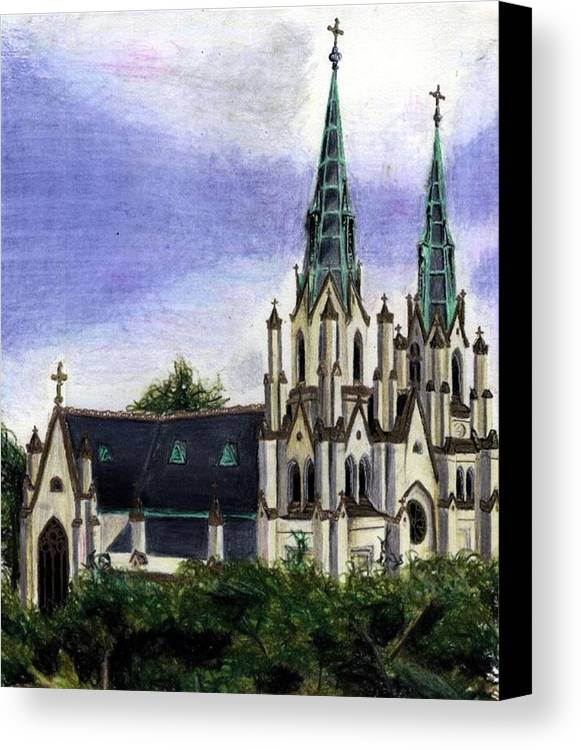 Buildings Canvas Print featuring the drawing Savannah Cathedral by Scarlett Royal