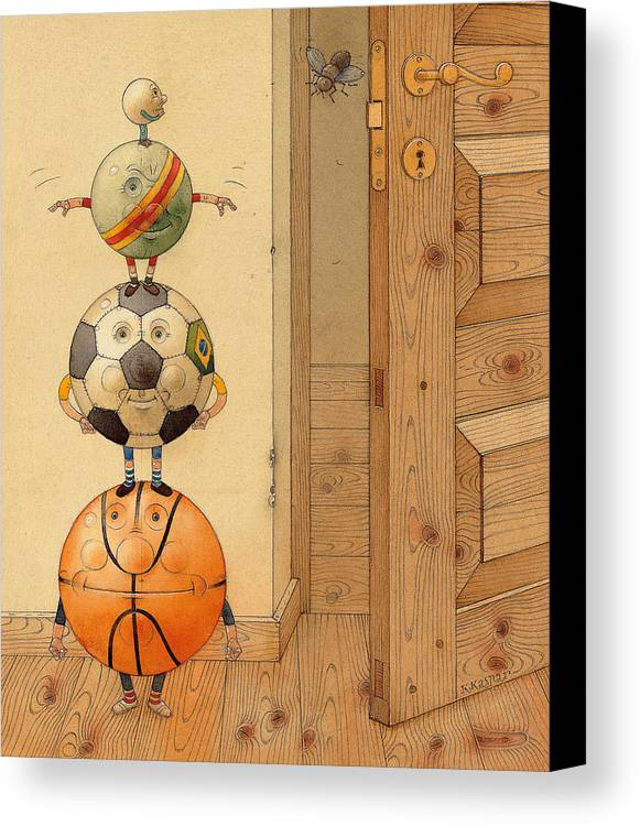 Ball Sport Room Door Fly Canvas Print featuring the painting Scary Story by Kestutis Kasparavicius