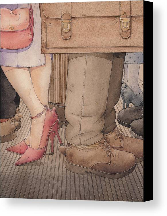 Shoes Flirt Metro Love Amour Canvas Print featuring the painting Shoes by Kestutis Kasparavicius