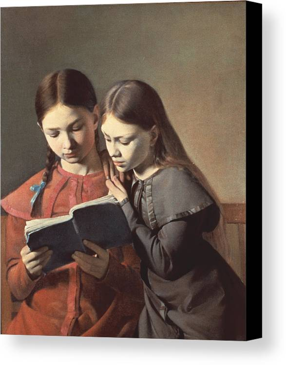 The Canvas Print featuring the painting Sisters Reading A Book by Carl Hansen