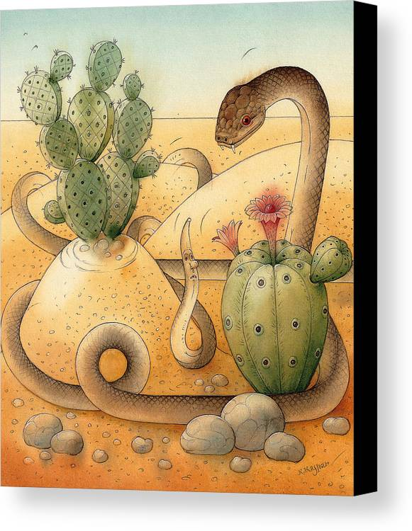 Snake Landscape Sky Cactus Canvas Print featuring the painting Snake by Kestutis Kasparavicius