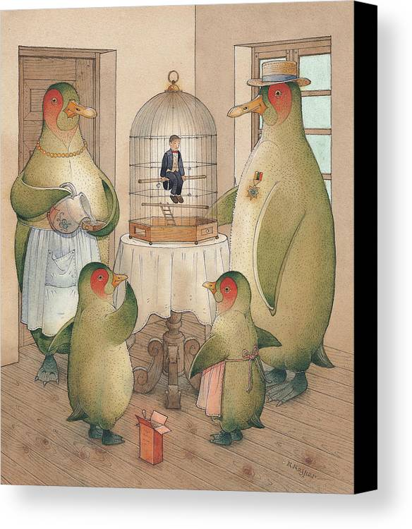 Birds Opera Canvas Print featuring the painting Songman by Kestutis Kasparavicius