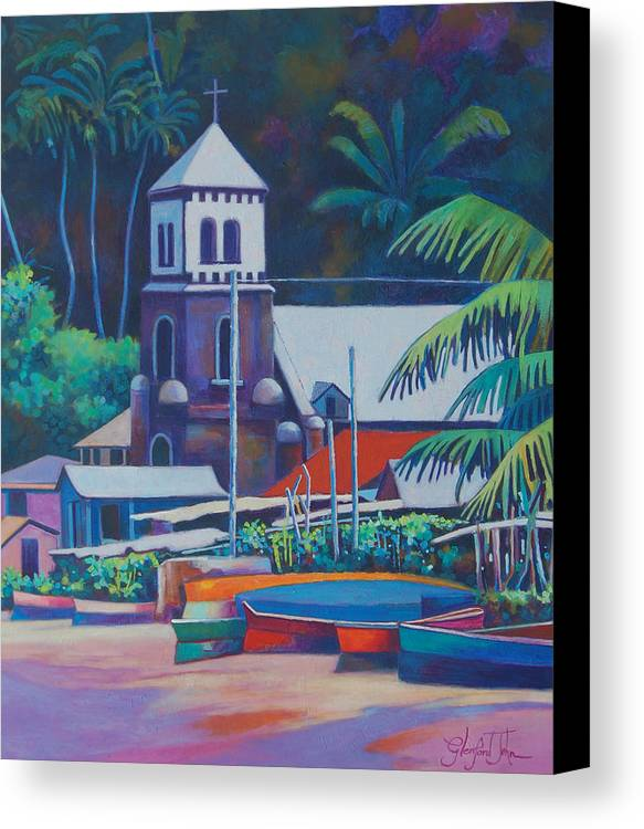 Canvas Print featuring the painting Soufriere Church Tower by Glenford John