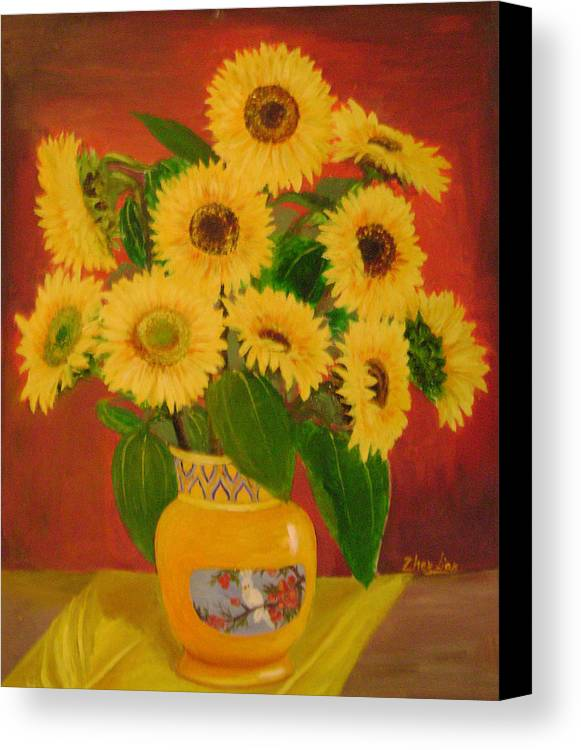 Floral Canvas Print featuring the painting Sunflower by Lian Zhen